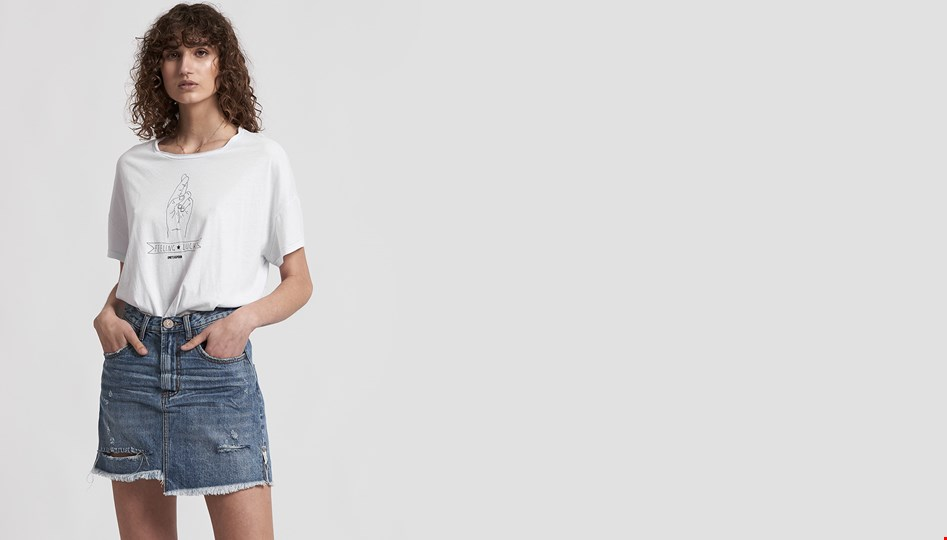 JOHNNY BLUE 2020 MINI HIGH WAIST DENIM SKIRT