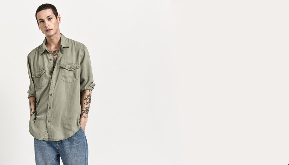 WASHED KHAKI LIBERTY TENCEL SHIRT