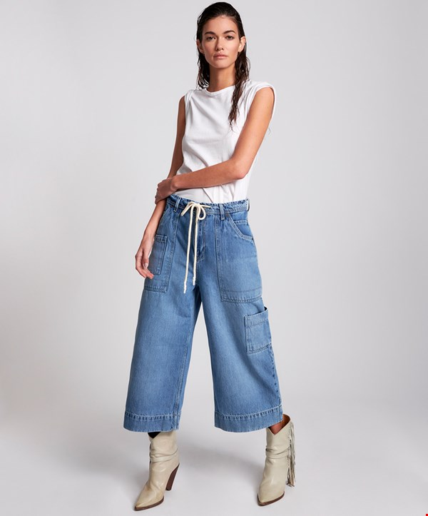 DELAWARE  UTILITY ORGANIC SUSTAINABLE  BAD BOYS HIGH WAIST WIDE LEG JEAN